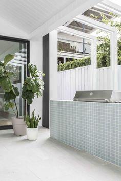 Kalka's Coastal Luxe Display Home — Adore Home Magazine - Modern Home, House Exterior, Outdoor Kitchen Design, Custom Homes, Coastal Homes, Modern Coastal, Outdoor Rooms, Custom Home Builders, Display Homes