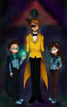 Ok I think I'm addicted to reverse Gravity Falls. I think the yellow guy is Bill Cipher.- thi picture is fabulous! Reverse Gravity Falls, Gravity Falls Au, Reverse Falls, Jelsa, Reverse Pines, Manga Anime, Gavity Falls, Yellow Guy, Pinecest