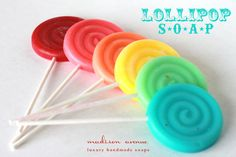 Handmade SOAP Vintage Swirl LOLLIPOPS make the cutest favors, Set of THREE Spa party favors circus party candyland party or Girls Day Favors. $11.00, via Etsy.