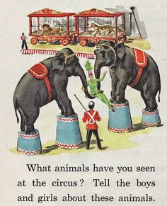 Circus Animals Detail from Science Everywhere: Science Today and Tomorrow; Gerald S.and Marguerite W. Ginn and Company, Circus Art, Circus Theme, Elephant World, Elephant Elephant, Childhood Images, Science Today, Carnival Rides, Night Circus, Vintage School