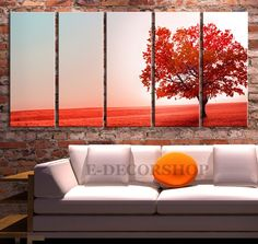 Large Wall Art Autumn and Red Tree Canvas Print | Autumn Canvas Print |5 Panel Large Size Canvas Printing