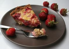 Strawberry Rhubarb Custard Pie (Low Carb and Gluten Free) by All Day I Dream About Food