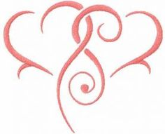 Two pink heart free embroidery design. Machine embroidery design. www.embroideres.com