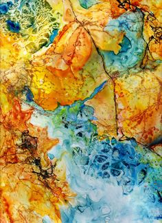 Autumn leaves - watercolor on yupo paper, ©D.Yates2012