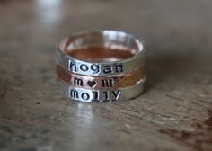 Hand Stamped Stacking Rings  Mothers rings Name Rings