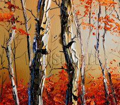 Autumn Birch Landscape Painting Oil on Canvas por willsonart