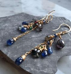 For September I made these earwires with 14k GF. Genuine Spinel and Sapphire Earrings