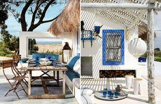 casa de praia azul e branco