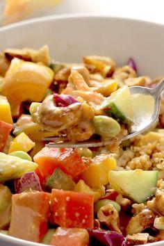 Quinoa Crunch Salad with Peanut Dressing Pinch of Yum is part of Vegan salad - Quinoa Crunch Salad! Crunchy rainbow veggies, juicy fresh mango, fluffy quinoa, chili lime cashews, and some creamy peanut dressing Healthy Meal Prep, Healthy Eating, Clean Eating Recipes, Cooking Recipes, Cooking Ideas, Vegetarian Recipes, Healthy Recipes, Beet Salad Recipes, Summer Salad Recipes