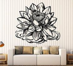 Create a relaxing refuge in your home with lotus flower wall art. You can use lotus flower wall decor in any room of your home but especially bedrooms, living rooms and bathrooms.  Although I love it in my office.  You can find cute lotus flower clocks, lotus flower wall tapestries, lotus flower wall decals, lotus flower wall murals that loook cute.  Vinyl Wall Decal Lotus Flower Yoga Meditation Center Buddhism Stickers Large Decor (1182ig) Silver Metallic