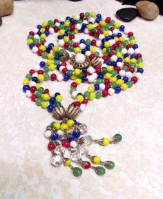 Vintage Colorful Early MIRIAM HASKELL Multi-Strand Glass Beaded Tassel Necklace #MiriamHaskell #Pendant