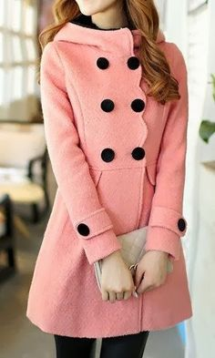 Adorable Pink Coat With Black Buttons And Clutch