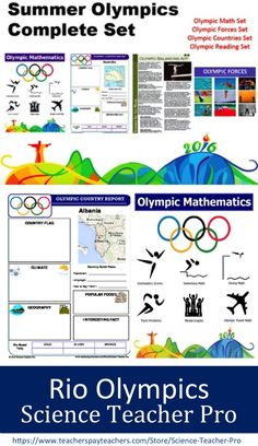 Rio Summer Olympics lessons for teachers. Country report templates, Olympic Forces, Science Informational Texts, and Summer Olympic Math. https://www.teacherspayteachers.com/Store/Science-Teacher-Pro