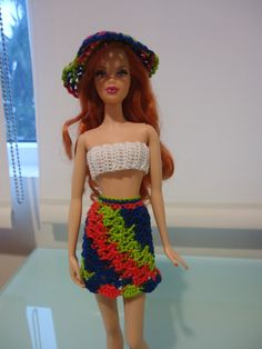 Barbie Shell-Stitched Skirt and Cropped Top (Free Crochet Pattern)
