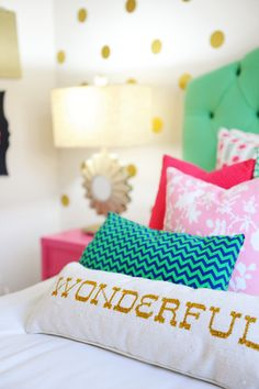 Interior Design: Tween Girl Bedroom Makeover Pink, Navy, Gold and Green (via Bloglovin.com )