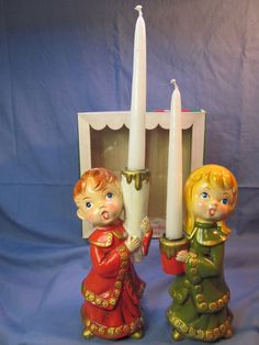 BIG Vintage Japan Holiday Boy -Girl Chalkware Christmas Carolers Candle Holders