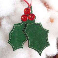 Holly leaves with bright red button berries by KimrasCreations