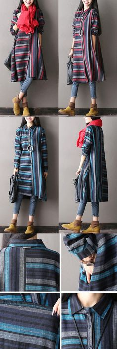 BUYKUD-Casual Loose cotton linen stripe autumn jacket. buykud.com