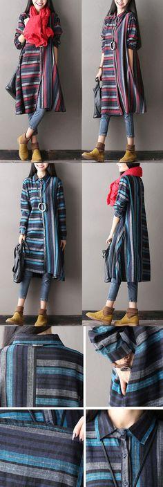 Casual Loose cotton linen stripe autumn jacket. buykud.com