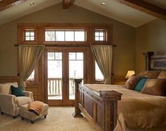 I love the look of drywall and wood elements (especially the beams) in log homes - every room doesn't have to be log walls!