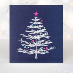 Bauble Sparkly Embossed Tree Luxury Christmas Card