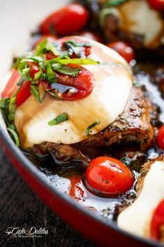 Caprese Chicken cooked right in a sweet, garlic balsamic glaze with juicy cherry tomatoes, fresh basil and topped with…