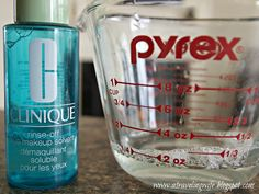 a traveling Wife: DIY Eye Makeup Remover 2 oz water, 5 drops baby oil and 1/4 tsp baby tear free shampoo