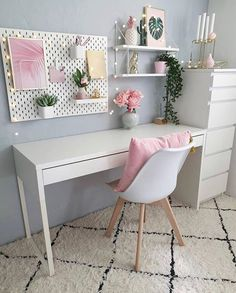 66 Unique Decor and Design Ideas For Home Office Workers Study Room Decor, Teen Room Decor, Diy Room Decor, Bedroom Decor, Bedroom Wall, Room Design Bedroom, Room Ideas Bedroom, Girls Bedroom, Home Office Design