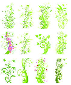 Floral green ornaments vector set 01