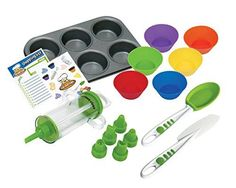 Real Kitchen Tools and Cookbook for Kids - Curious Chef 16-Piece Cupcake and Decorating Kit