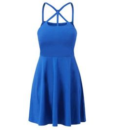 Get a stand out evening style with this blue lattice neck skater dress - just add black ankle strap heels to finish.- Lattice neck- Cinched waist- Fit and flare design- Stretch jersey fabric- Shoestring straps- Dress length: 34