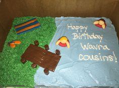 ...lake birthday cake...dock, beach towel, swimming...