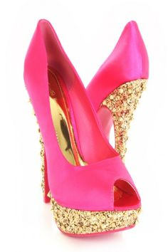 Fuchsia Peep Toe Satin Glitter Pyramid Studded Platform Heels / Sexy Clubwear | Party Dresses | Sexy Shoes | Womens Shoes and Clothing | AMI CLubwear