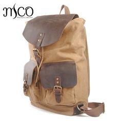 Canvas Leather Backpack Male Casual Daypacks Youth Travel Backpack Rucksack Vintage Laptop Backpack School Bags Unisex Bookbag