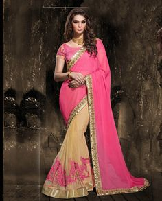 Pink and beige half and half embroidered sari with embroidered pleats   1. Pink and beige net chiffon half and half embroidered sari2. Resham and sequins embellished and golden gotta border3. Comes with matching unstitched blouse