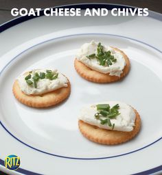 Goat cheese and chives on a RITZ is a quick and classy addition to any party spread. Appetizer Ideas, Appetizers For Party, Appetizer Recipes, Snack Recipes, Cooking Recipes, Ritz Recipe, Ritz Cracker Recipes, Party Spread, Cocktail Parties