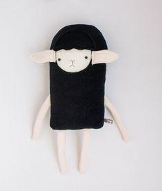 Plush Black Sheep Lamb Friend- Finkelstein's Center Handmade Creature Toy