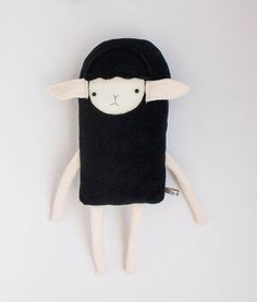 Plush Black Sheep Lamb Friend- Finkelstein's Center Handmade Creature Toy