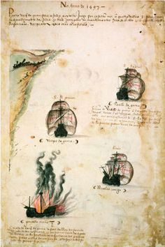 Depiction of the 1st Portuguese India Armada (1497 fleet led by Vasco da Gama) from the Livro das Armadas (Academia de Ciencias de Lisboa) ~ ca1568