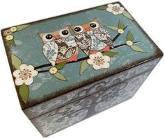 Recipe Box, Decoupaged, Teal Damask Owls and Tree Large Handcrafted Kitchen Storage, Organization Box, Holds 4x6 Cards  MADE To ORDER on Etsy, $40.00 CAD