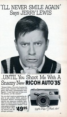 Jerry Lewis for Ricoh Auto 35 Camera - 1960