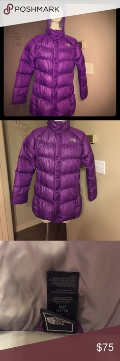 The North Face Jacket (XL Girls) Very nice purple with detachable hood.  Jacket is in excellent conditions. The North Face Jackets & Coats