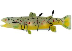 29.5 Inch W Metro Fusion Brown Trout Glass Wall Sconce. 29.5 Inch W Metro Fusion Brown Trout Glass Wall Sconce Theme:  ART GLASS ANIMALS CONTEMPORARY Product Family:  Metro Fusion Brown Trout Product Type:  WALL SCONCES Product Application:  LIGHTED SCULPTURES -- ONE LIGHT Color:  LT GREEN/YELLOW/BLACK/CHERRY RED Bulb Type: MED Bulb Quantity:  2 Bulb Wattage:  60 Product Dimensions:  11.5H x 29.5W x 6.5DPackage Dimensions:  NABoxed Weight:  6 lbsDim Weight:  121 lbsOversized Shipping…