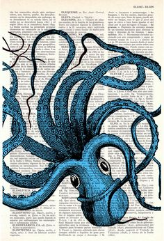Octopus print on vintage dictionary page.  PRRINT.  Creo que te puede gustar @Chuckybunchy Moy ;)