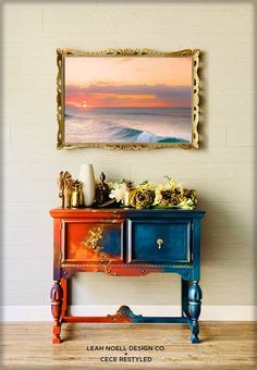 This piece was created by CeCe ReStyled and Leah Noell Design Co to represent 🔥 and 💧. Hand Painted Furniture, Funky Furniture, Refurbished Furniture, Colorful Furniture, Paint Furniture, Upcycled Furniture, Furniture Projects, Rustic Furniture, Furniture Makeover