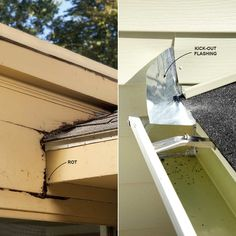 Missing Kick-Out Flashing Kick-out flashing is critical where a roof edge meets a sidewall. Without it, roof runoff flows down the wall and possibly into the wall. This is worst when there is a door or a window below and water can seep behind the trim.