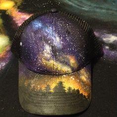 48663748a0e13 Custom Painted Galaxy Snapback Trucker Hat - Milky Way