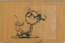 WALLACE TRIPP Kidstamps Mouse Can Telephone Wood Block Rubber Stamp NOS