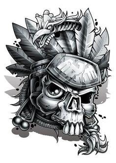 Black and Grey Aztec Skull Temporary Tattoo