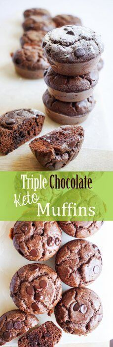 Keto Triple Chocolate Muffins! These Low carb chocolate muffins that pack a rich chocolate flavor and they are sugar-free, gluten-free and so much better than most muffins you'll see in shops!